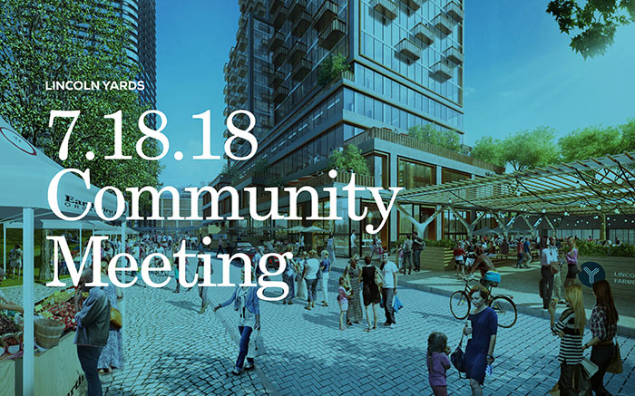 Graphic representing Lincoln Yards Community Meeting document