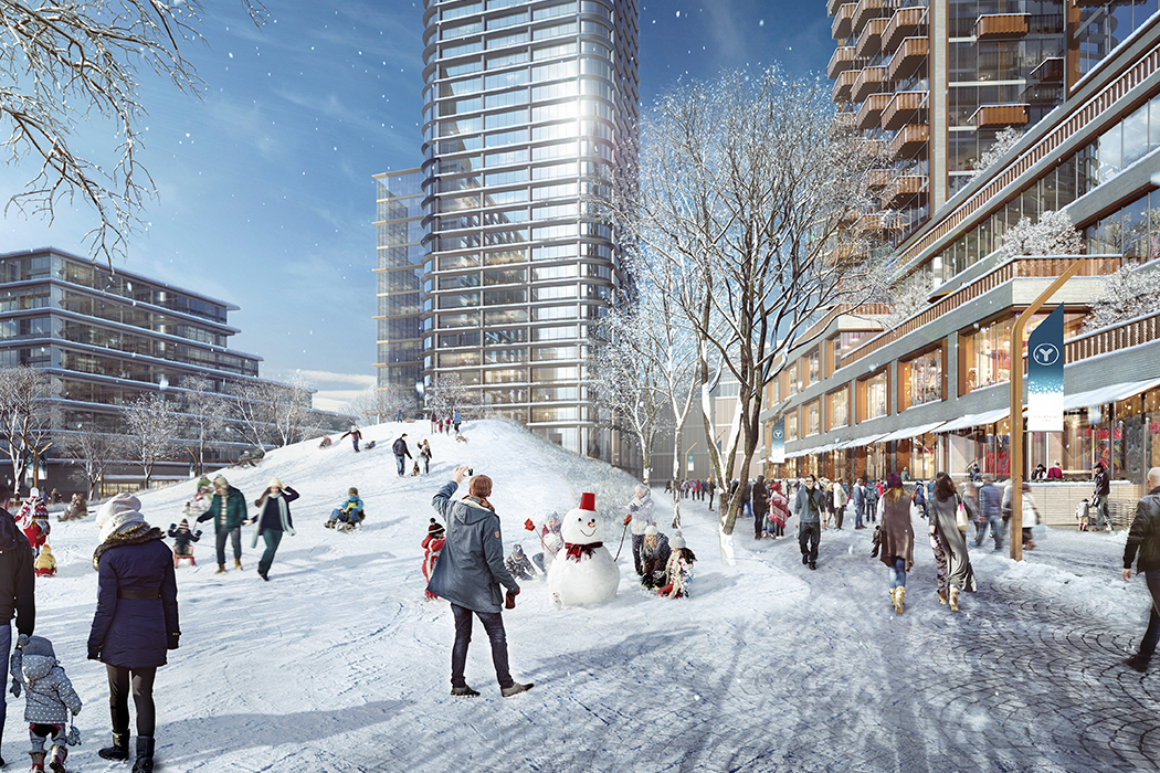 Rendering of a winter scene in the Lincoln Yards area